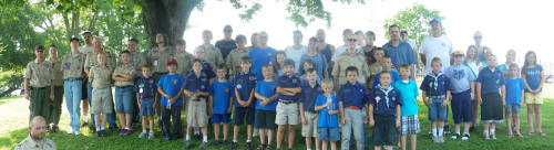 Nolachuckey Dstrict Scouts at the Memorial Day Flag plament at Andrew Johnson Memorial Park. 5/25/2012